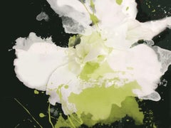Serene Green Floral Painting Hand Embellished Giclee on Canvas 40H X 60W