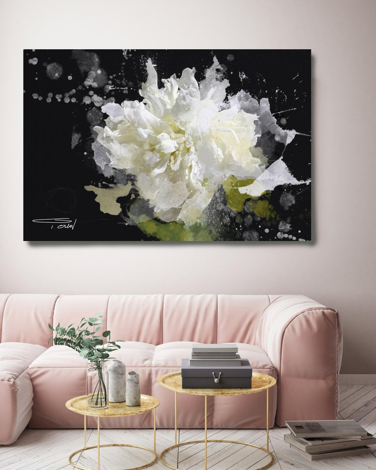 Blow Away on The Wind Floral Painting Hand Embellished Giclee on Canvas 40H X60W - Contemporary Mixed Media Art by Irena Orlov