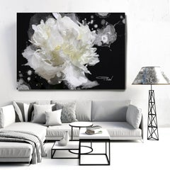 Black and White Floral Art Hand Embellished Giclee on Canvas 40H X 60W