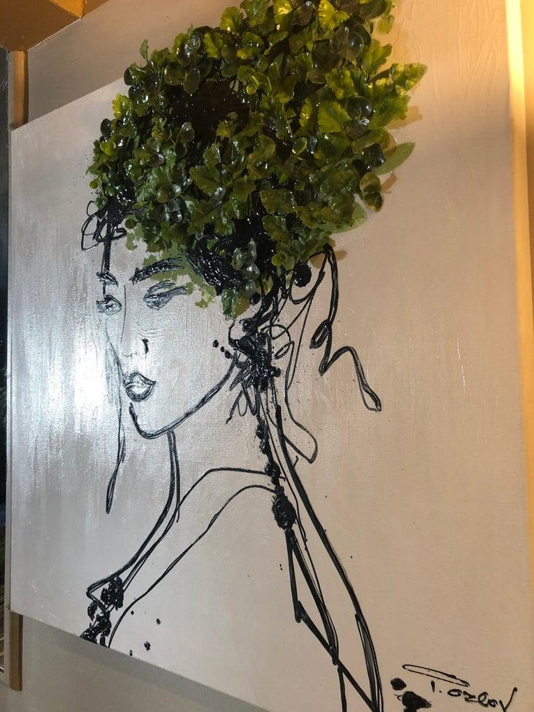 Beauty Spring Woman - Acrylic and 3D Painting on Canvas + Artificial Boxwood Hedge Baby Green Leaves Foliage Biophilic design 24 x 24