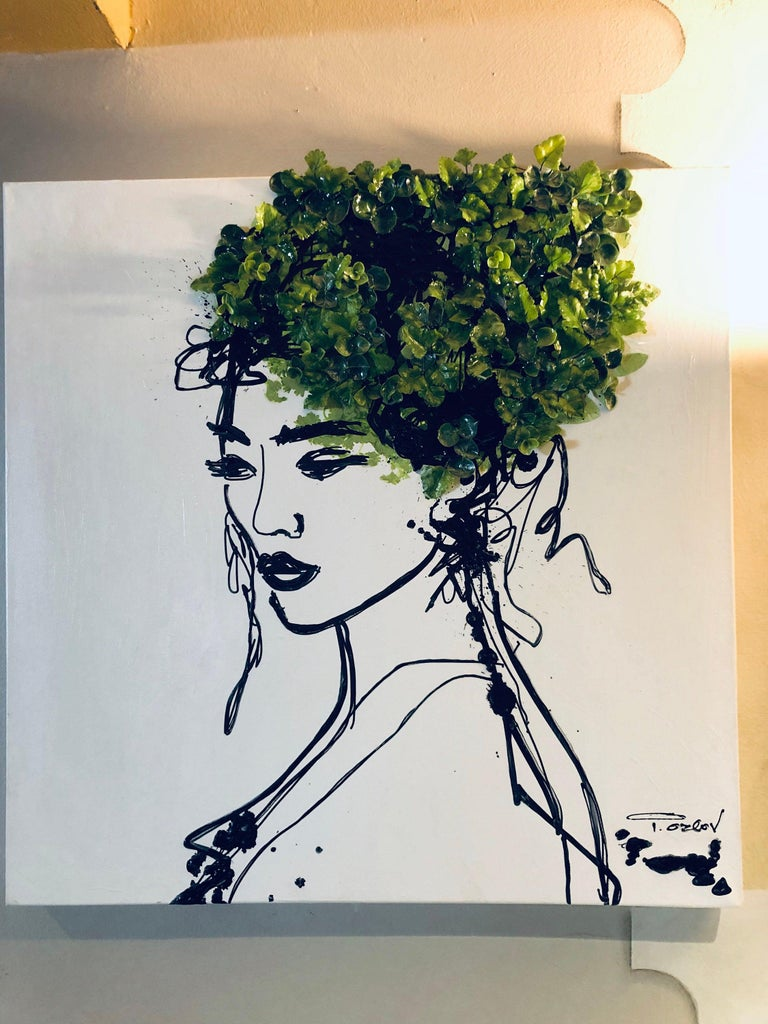 Beauty Spring Woman - Acrylic and 3D Painting on Canvas Biophilic Design 24x24