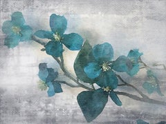 """Teal Rustic Flowers Mixed Media Canvas 60W X 40H"""" IN love with spring 3."""