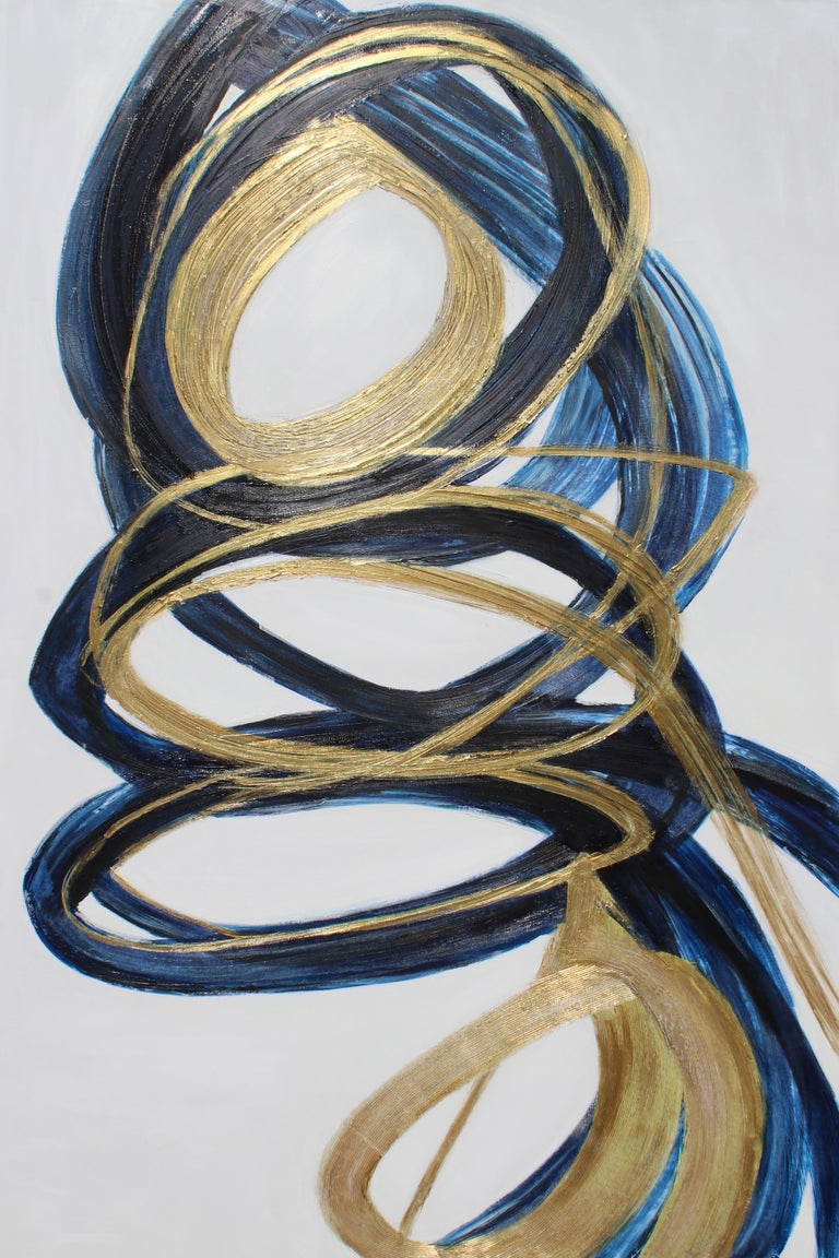 Blue Gold Circles Abstract Painting Art on Canvas Textured Giclee 45 x 72 inches For Sale 1