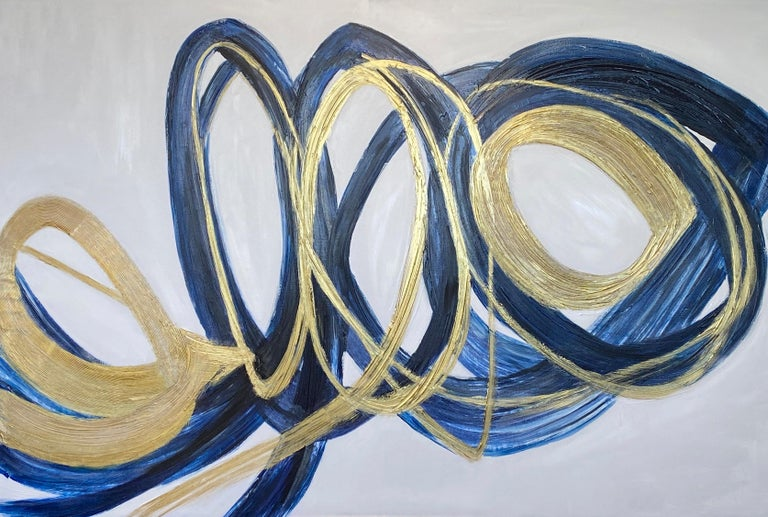 Blue Gold Circles Abstract Painting Art on Canvas Textured Giclee 45 x 72 inches  State-of-the-art HAND EMBELLISHED ∽ MUSEUM QUALITY ∽ DISPLAY READY Giclee Reproduction Each limited edition Giclee is hand embellished and textured  by the artist,