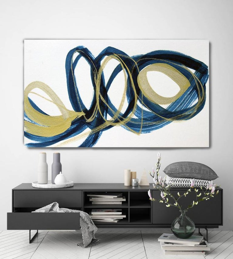 Blue Gold Circles Abstract Painting Art on Canvas Textured Giclee 45 x 72 inches For Sale 2