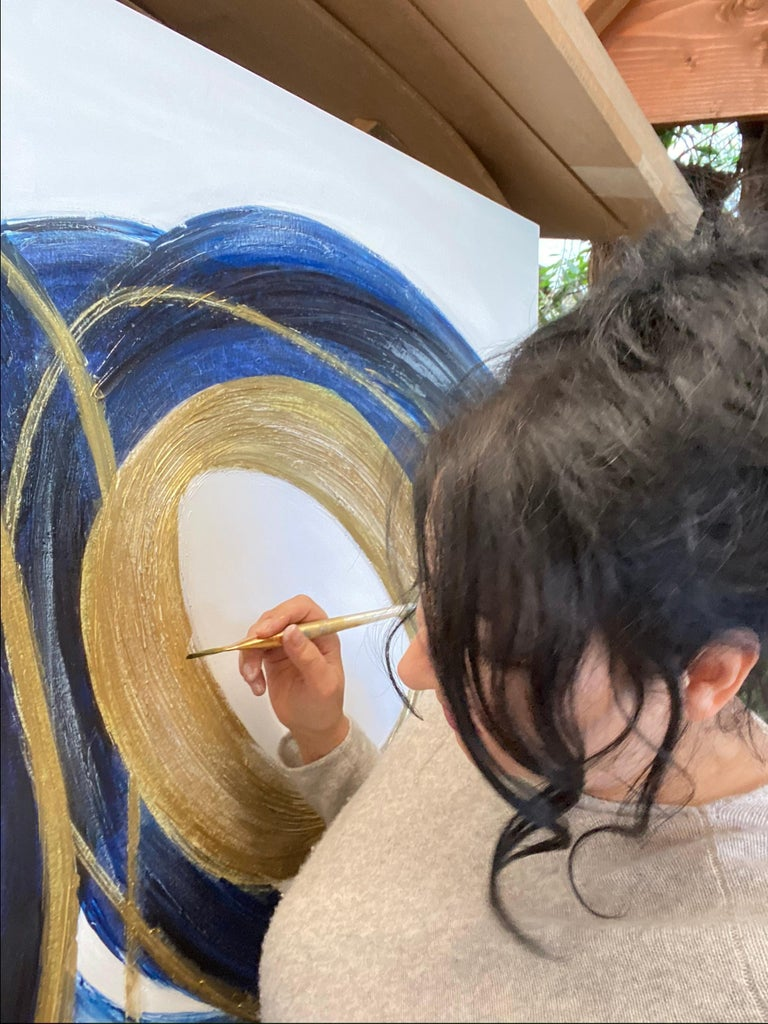 Blue Gold Circles Abstract Painting Art on Canvas Textured Giclee 45 x 72 inches For Sale 5