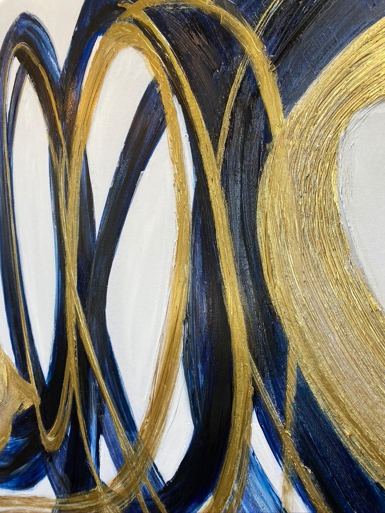 Blue Gold Circles Abstract Painting Art on Canvas Textured Giclee 45 x 72 inches For Sale 7