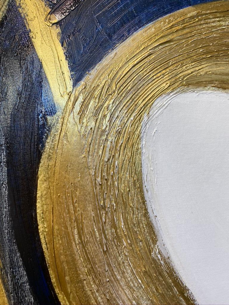 Blue Gold Circles Abstract Painting Art on Canvas Textured Giclee 45 x 72 inches For Sale 9