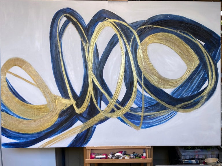 Blue Gold Circles Abstract Painting Art on Canvas Textured Giclee 45 x 72 inches For Sale 11