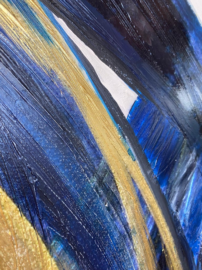Blue Gold Minimalist t Painting Art on Canvas Textured Giclee 45 x 72 inches For Sale 7