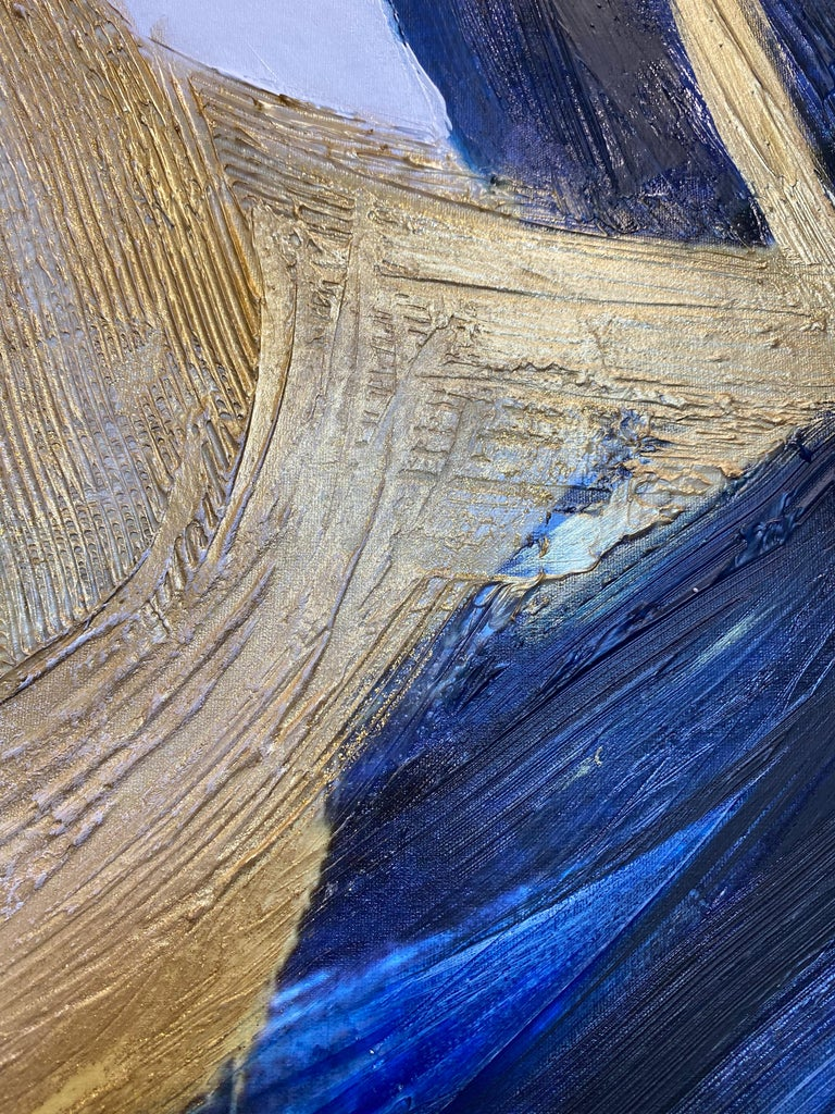Blue Gold Minimalist t Painting Art on Canvas Textured Giclee 45 x 72 inches For Sale 8