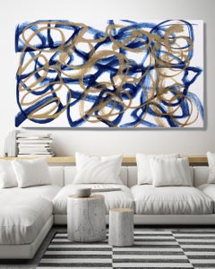 Blue Gold Minimalist t Painting Art on Canvas Textured Giclee 45 x 72 inches