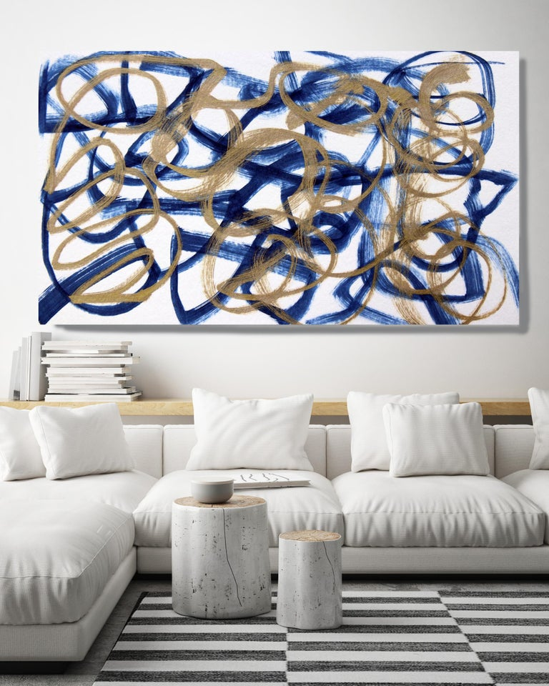 Irena Orlov Abstract Painting - Blue Gold Minimalist t Painting Art on Canvas Textured Giclee 45 x 72 inches
