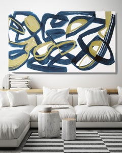 Blue Gold Minimalist Painting Art on Canvas Textured Giclee 45 x 72 inches