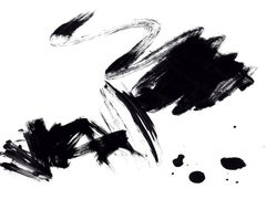 Black White Minimalist Painting Art on Canvas Textured Giclee 45 x 72 inches