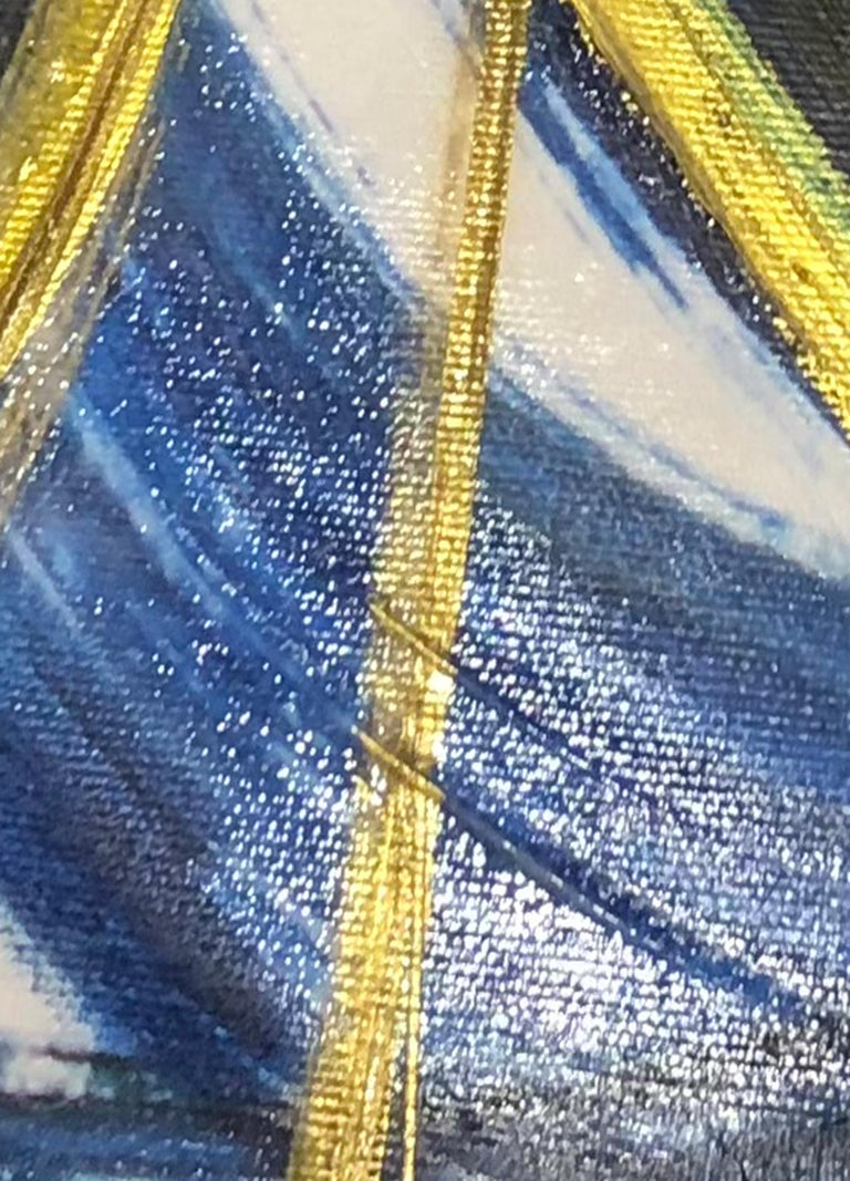 Blue Gold Lines Watercolor Painting on Canvas Textured Giclee, Blue Expression 1 For Sale 4