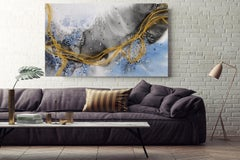 Blue Gold Lines Coastal Watercolor Abstract on Canvas Textured Giclee 70 x 40