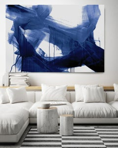 Blue Abstract Painting Art Textured Giclee on Canvas, Free-Spirited 65 x 45 inch
