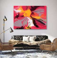 Contemporary Red Yellow Painting Textured Giclee on Canvas 40Hx 60W""