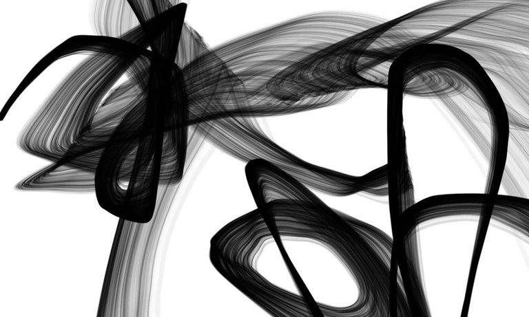 "Irena Orlov Interior Painting - Minimalism Black And White Painting, Black And White Abstract Movement 60 x 40"""