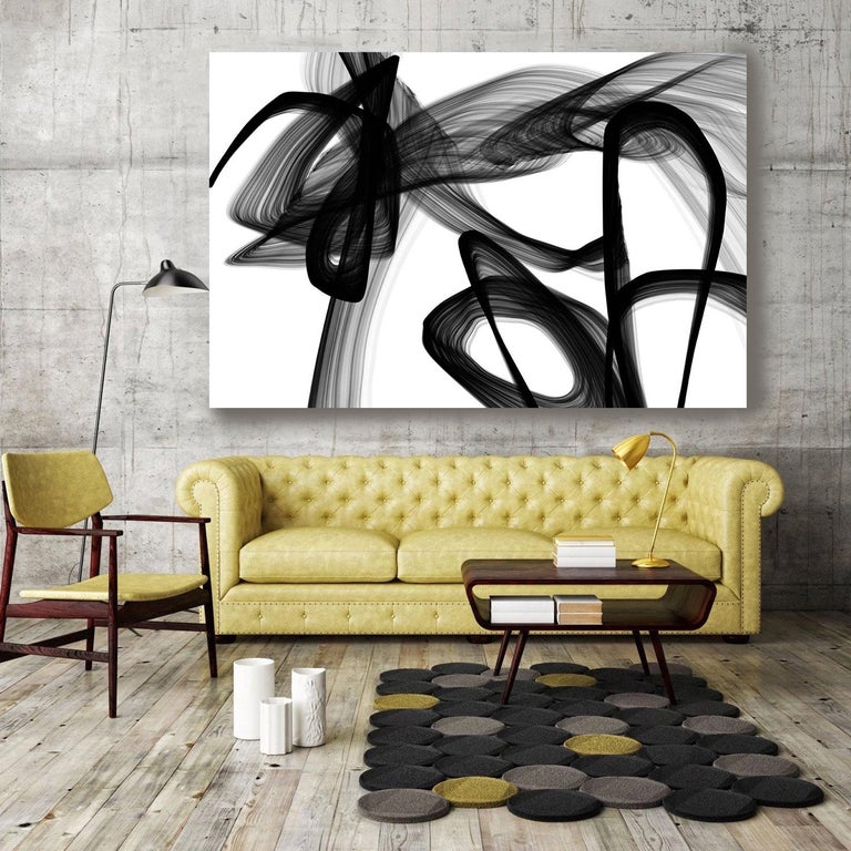 40H x 60W inch, Innovative and Contemporary Original New Media Abstract Black And White Work on Canvas Investment Opportunity - Unique - Original - Signed  This is original abstract mixed media work, which combines new media - digital painting,