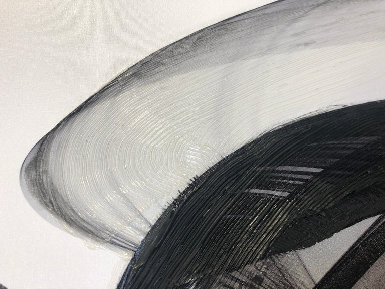 Minimalism Black And White Painting, Black And White Abstract Movement 60 x 40