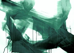 Green Emerald Modern Art One of a Kind Hand Textured Giclee on Canvas 48 x 72""