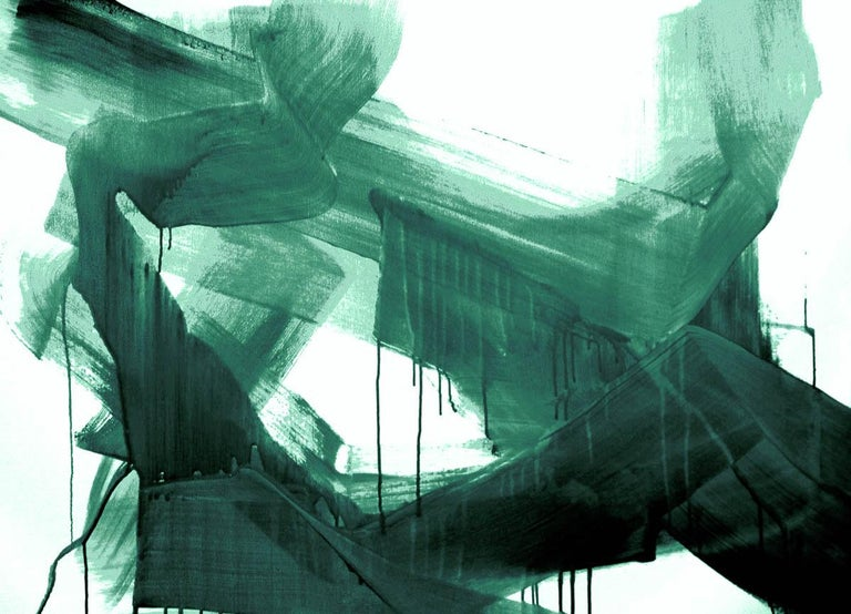 Green Emerald Modern Art One of a Kind Hand Textured Giclee on Canvas 48 x 72