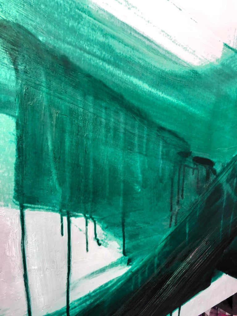 Green Emerald Abstract Painting One of a Kind Hand Textured Giclee on Canvas   State-of-the-art HAND EMBELLISHED ∽ MUSEUM QUALITY ∽ DISPLAY READY Giclee Reproduction Each limited edition Giclee is hand embellished and textured  by the artist, making