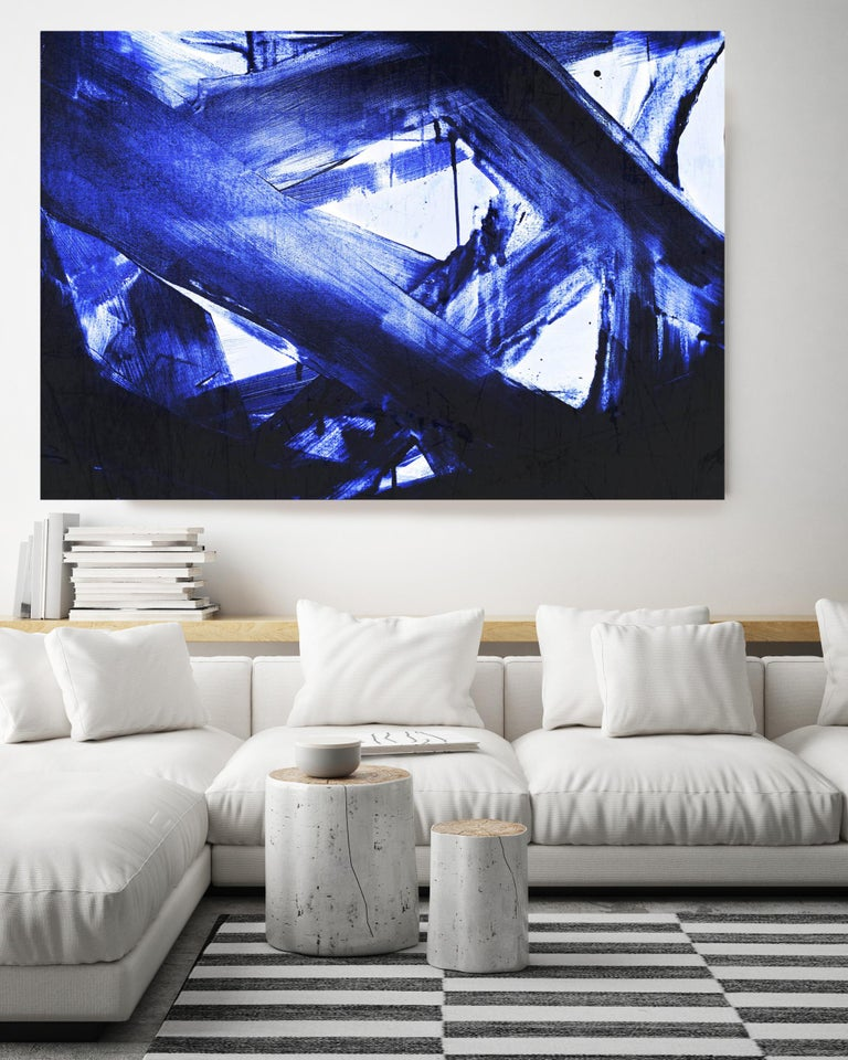 Blue Modern Painting Hand Textured Giclee on Canvas 72W x 48H
