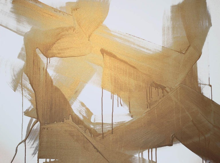 """Gold Abstract Painting Hand Textured Giclee on Canvas,  Free-Spirited 48 x 72""""  State-of-the-art HAND EMBELLISHED ∽ MUSEUM QUALITY ∽ DISPLAY READY Giclee Reproduction Each limited edition Giclee is hand embellished and textured  by the artist,"""