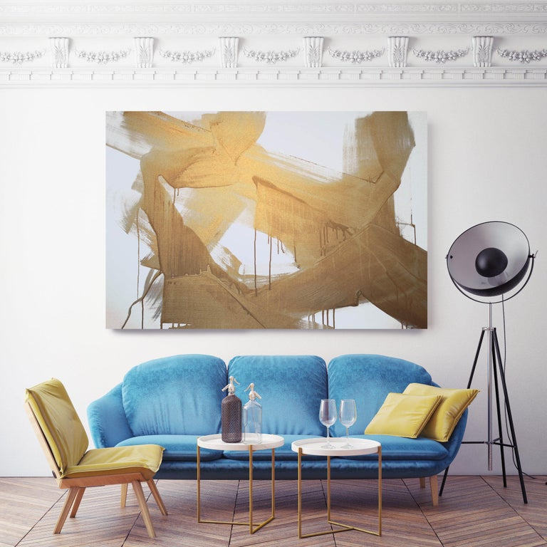 Gold Abstract Painting Hand Textured Giclee on Canvas,  Free-Spirited 48 x 72