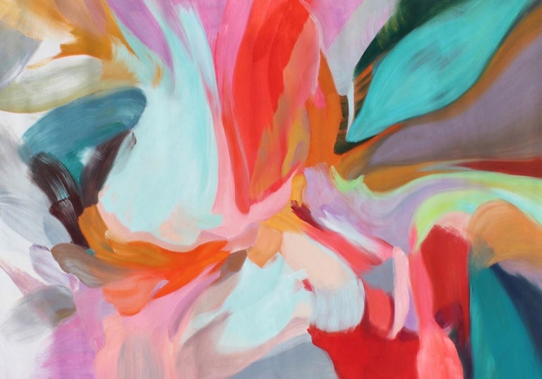 """Irena Orlov Interior Painting - Contemporary Red Blue Teal Abstract Painting 42H X 68""""W, Integrity of Chaos"""
