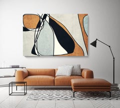 Mid Century Modern Art Line Art Painting Hand Embellished Giclee on Canvas