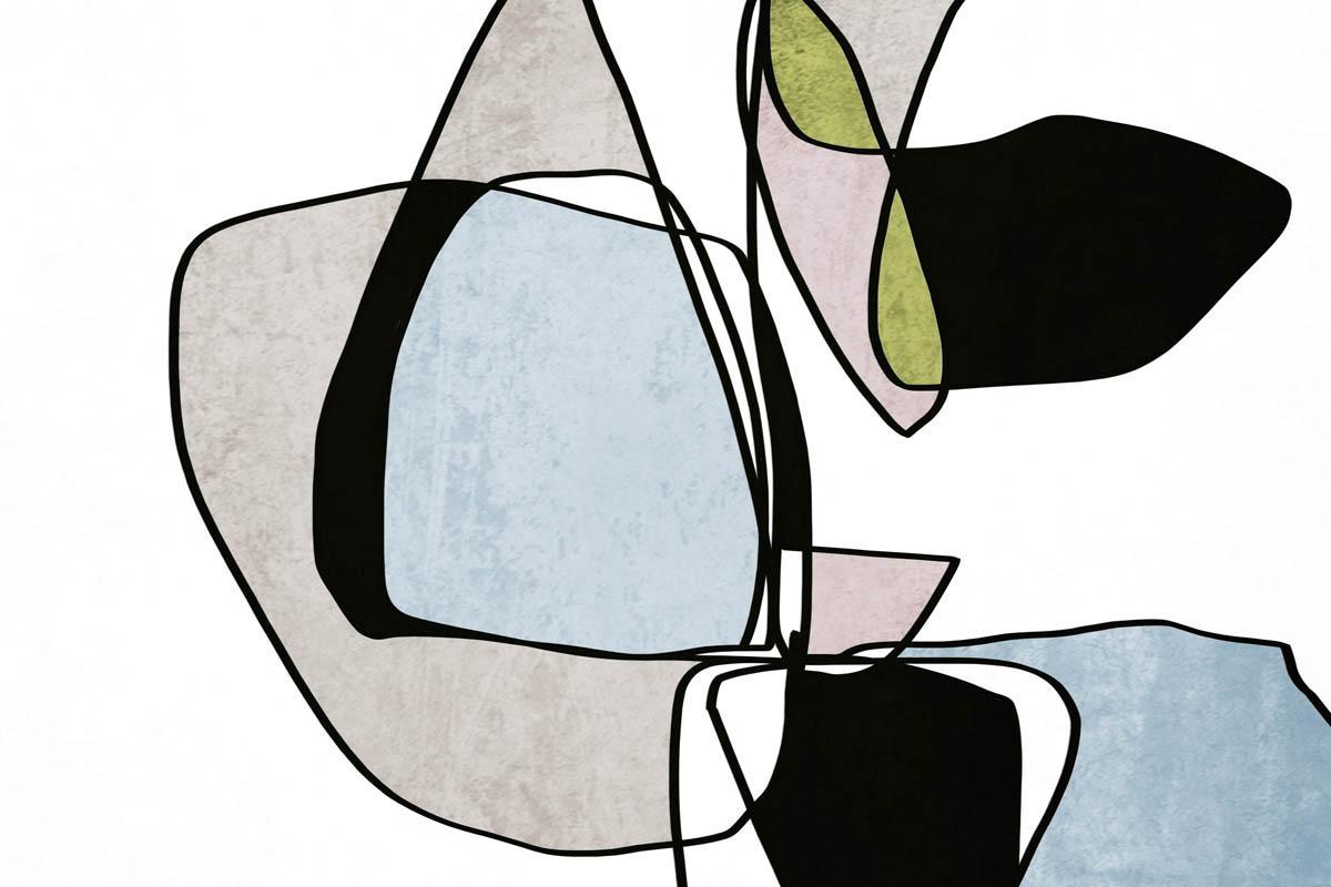 "Blue Mid Century Modern Art Line Art Hand Embellished Giclee on Canvas 40 x 60"""
