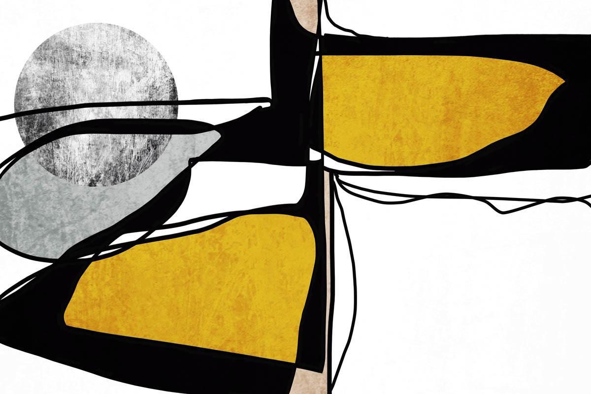 "Minimalist Yellow Black Line Art Hand Embellished Giclee on Canvas 40 x 60"""