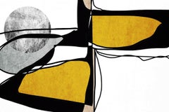 Minimalist Yellow Black Line Art Hand Embellished Giclee on Canvas 40 x 60""