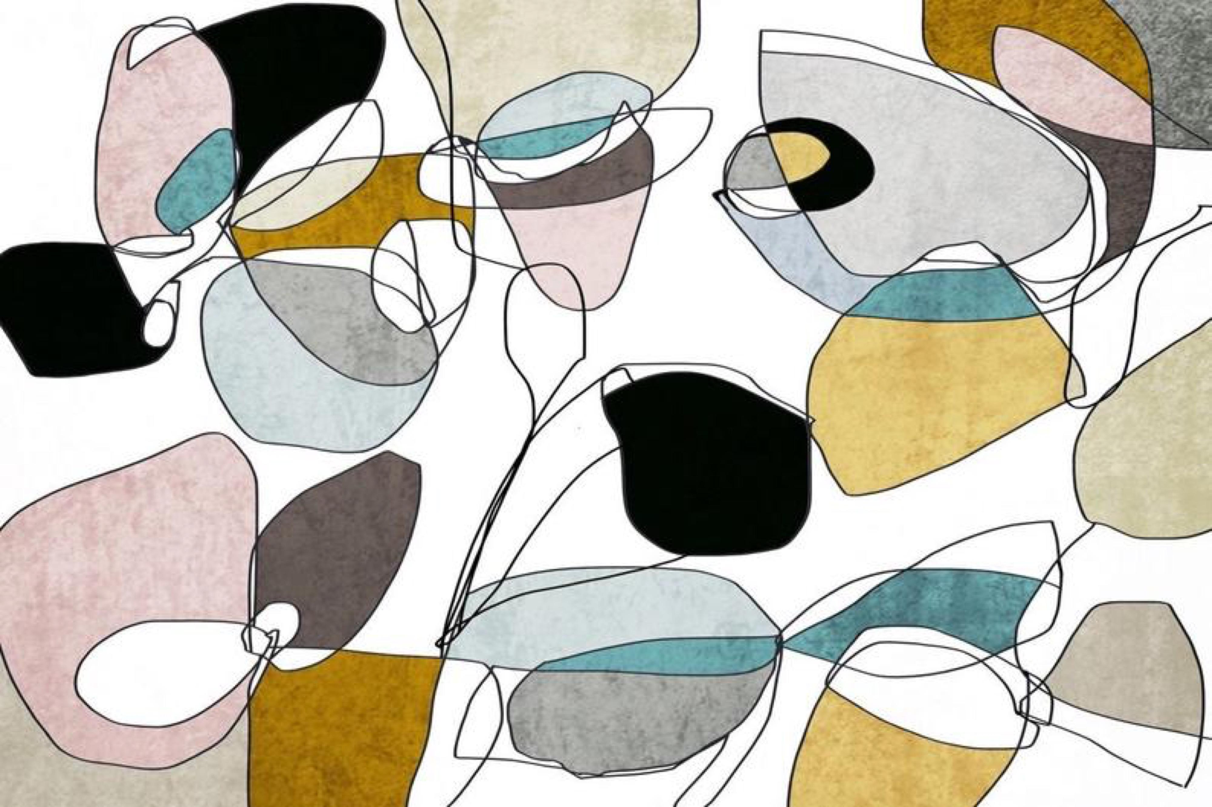 """Yellow Blue Pink Modern Line Art Hand Embellished Giclee on Canvas 40 x 60"""""""