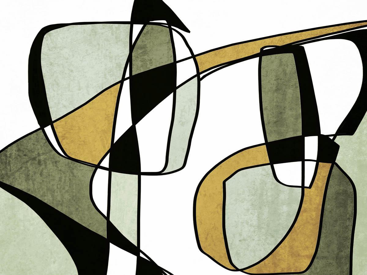 "Olive Green Modern Line Art Hand Embellished Giclee on Canvas 40 x 60"""