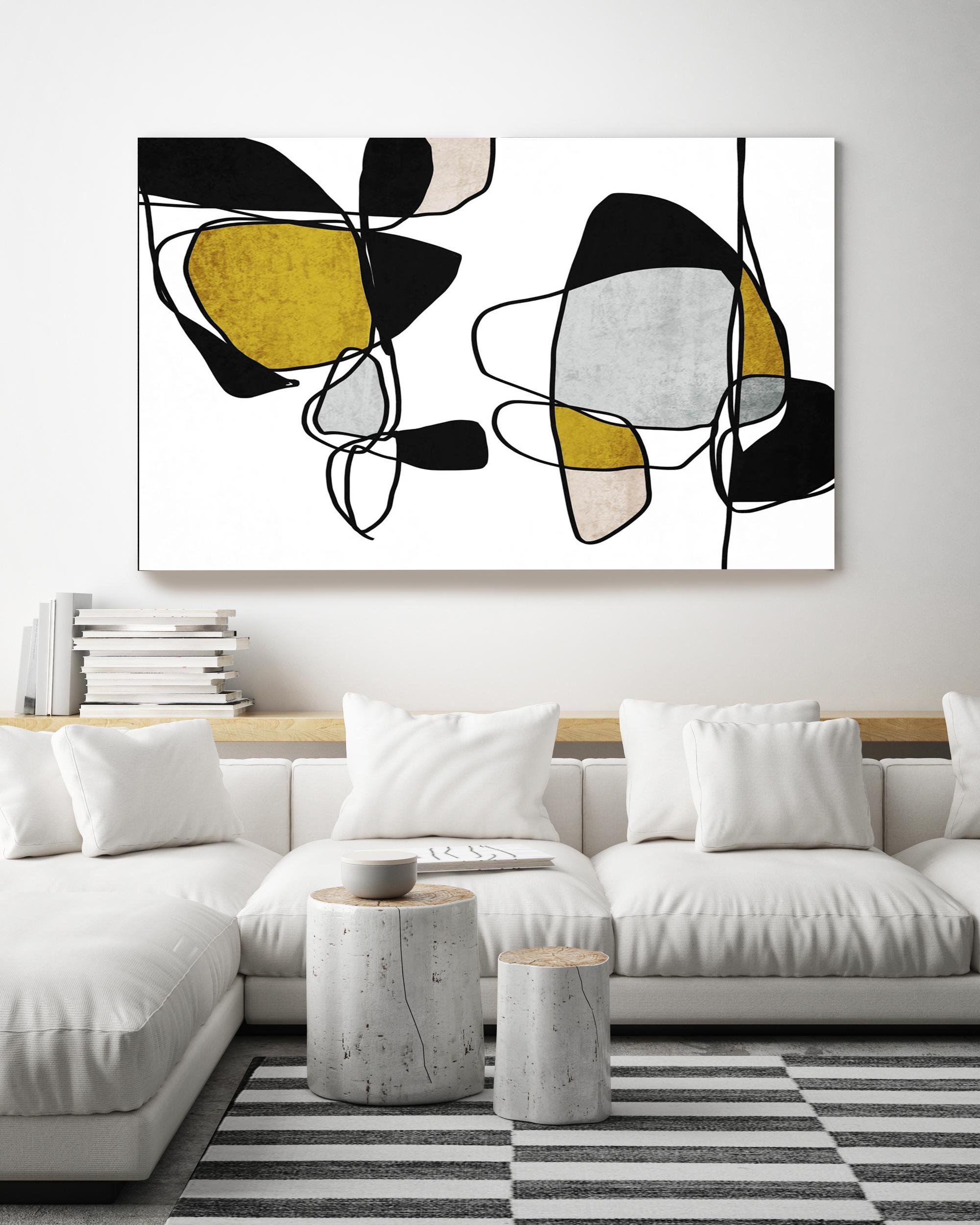 """Minimalist Gold Black Abstract Line Art Hand Embellished Giclee on Canvas 40x60"""""""