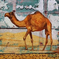 "Camel, Rustic Camel Mixed Media Painting on Canvas 45x45"" Farmhouse Wall Art"