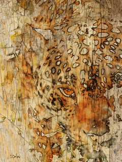 """Tiger Painting, Mixed Media Textured on Canvas 60 H X 40"""" W Farmhouse, Big Cat"""