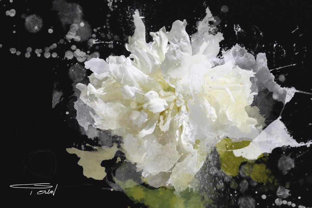 Blow Away on The Wind Floral Painting Hand Embellished Giclee on Canvas 40H X60W
