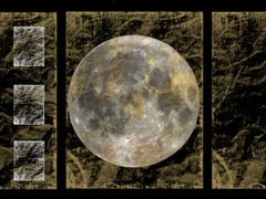 """Gold Moon 2, Gold Black Silver Moon Mixed Media Painting On Canvas 40 x 54"""""""