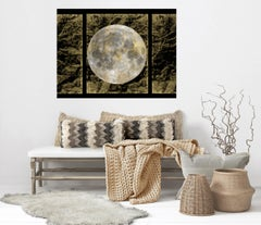 """Gold Moon 5, Gold Black Silver Moon Mixed Media Painting On Canvas 40x54"""" Space"""