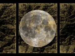 "Gold Moon 5, Gold Black Silver Moon Mixed Media Painting On Canvas 54x72"" Space"