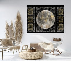 Space, Gold Moon 4, Gold Black Silver Moon Mixed Media Painting On Canvas 40x54""