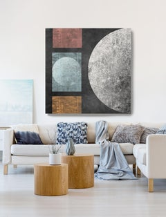 """Geometry MYSTERY MOON 6, Mixed Media Painting On Canvas 48 x 48"""" Astronomy Space"""