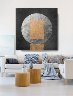 """Geometry MYSTERY MOON 22 Mixed Media Painting On Canvas 48 x 48"""" Astronomy Space"""