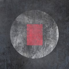 Minimalist MYSTERY MOON 21 Red Painting Embellished Giclee On Canvas 45 x 45""